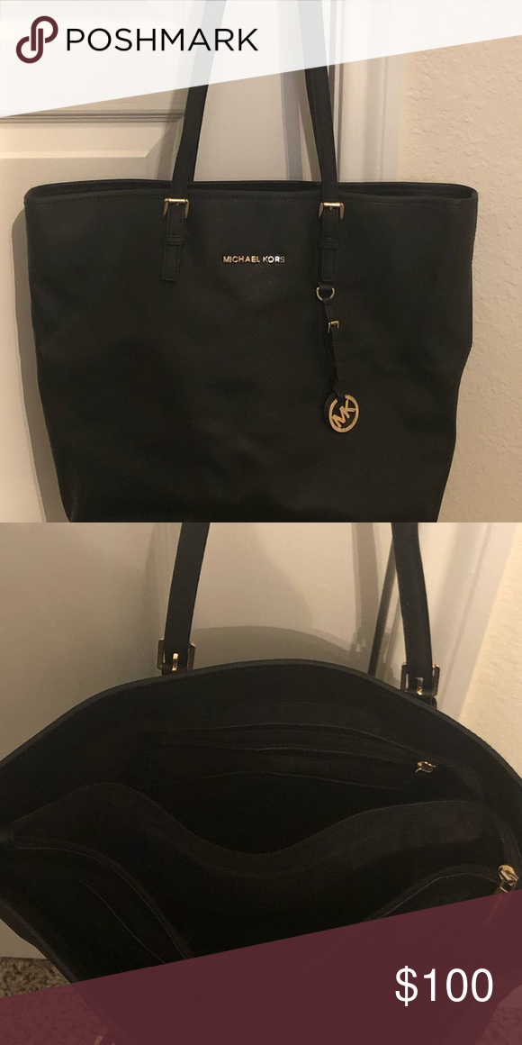 a8cb001d6953e4 Michael Kors tall black Jet Set Saffiano tote bag. Great condition with  many pockets inside. Leather. Michael Kors Bags Totes