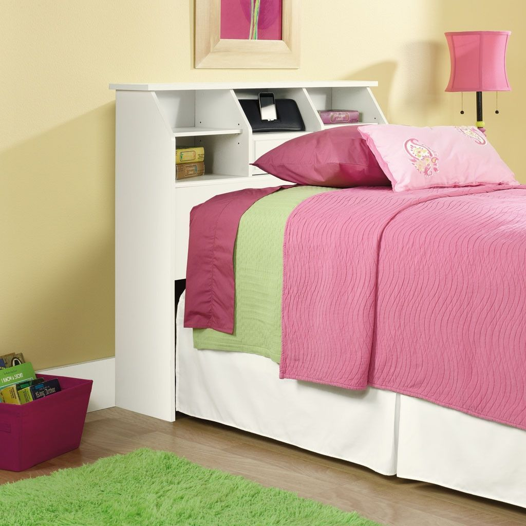Twin size White Bookcase Headboard with Storage Made in