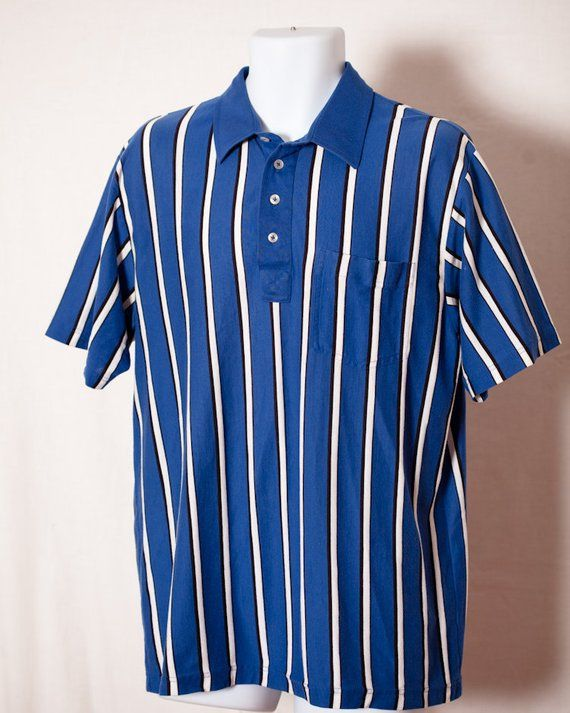 8e73cdf5f685 Vintage 90s Men's Vertical Stripe Polo Shirt Blue White - TOWNCRAFT - L