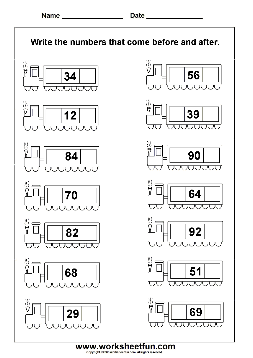 Before & After Numbers - 2 Worksheets | Printable Worksheets | Math ...