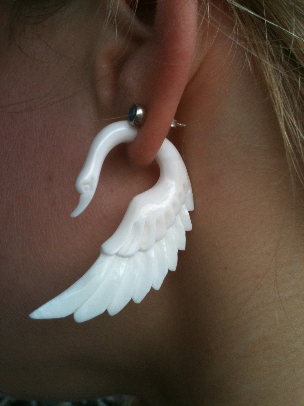 Fake Gauge Wing Swan White Bone Earrings Fancy Craved Feather Cheater Other