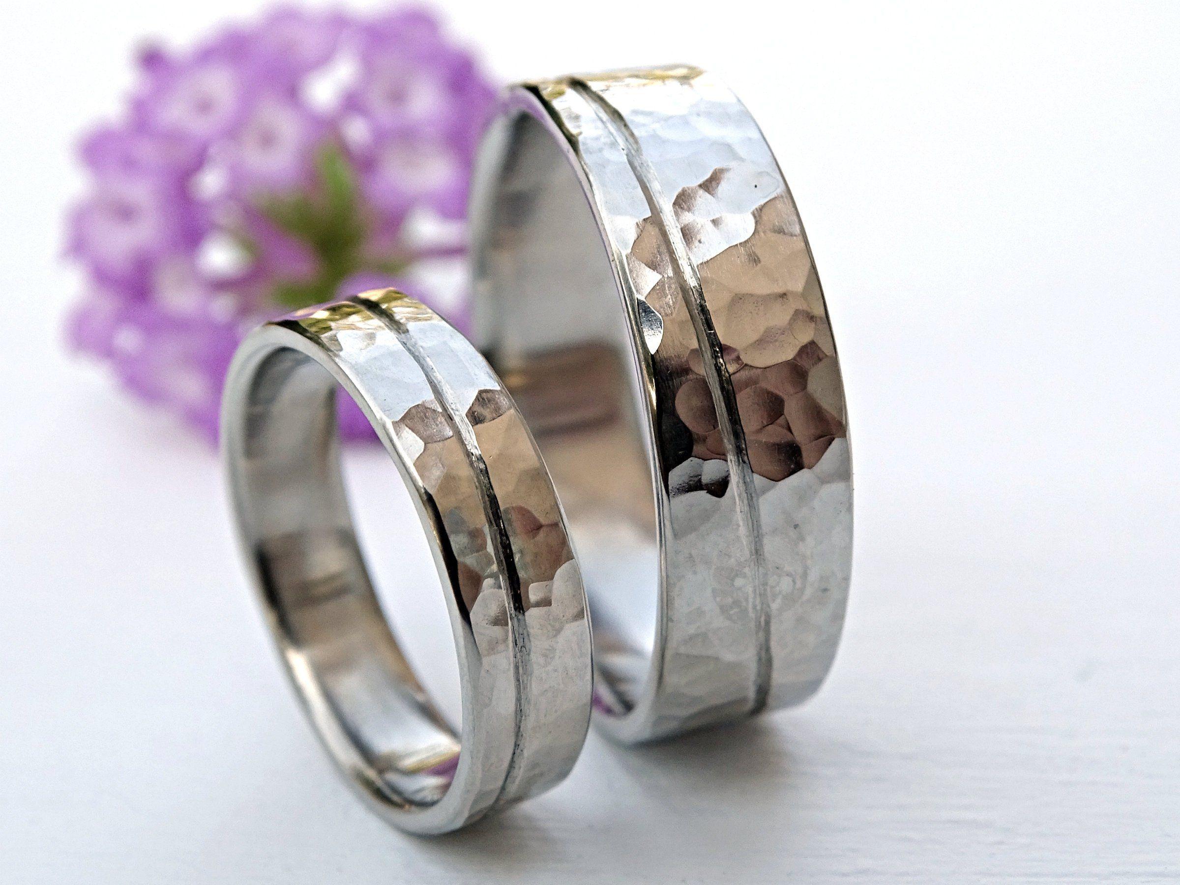 Gold Wedding Ring Set White Gold Wedding Bands Matching Etsy Matching Wedding Rings Wedding Rings Sets Gold Gold Wedding Rings