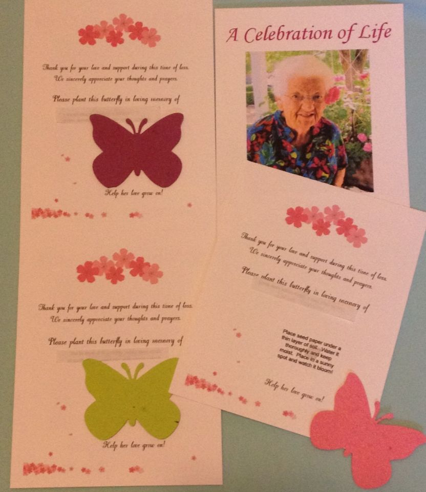 "Memorial cards made for my Grandma's funeral.  They have seed paper butterflies attached for people to plant after the funeral to ""help her love grow on"".   Made simply with Avery postcards, restickable dots as adhesive and the seed cards. To find a beautiful selection of quality made, reasonably priced seed paper go to: papersprouts@yahoo.com or find Paper Sprouts on ETSY!"