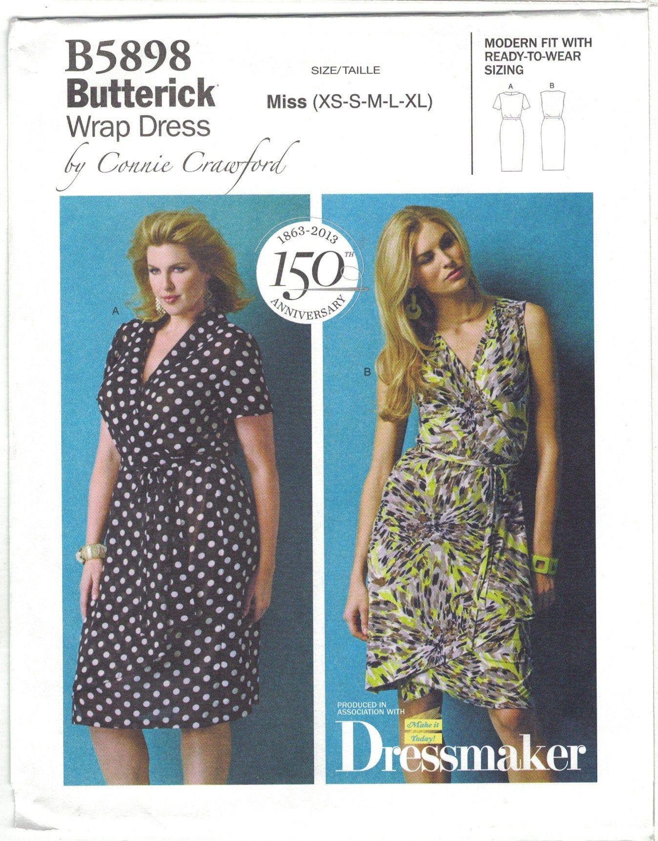 Butterick B5898 Connie Crawford Wrap Dress Pattern Plus Size Xs Xl B34 43 By Thetastelady On Et Wrap Dress Sewing Patterns Wrap Dress Pattern Womens Wrap Dress [ 1722 x 1348 Pixel ]