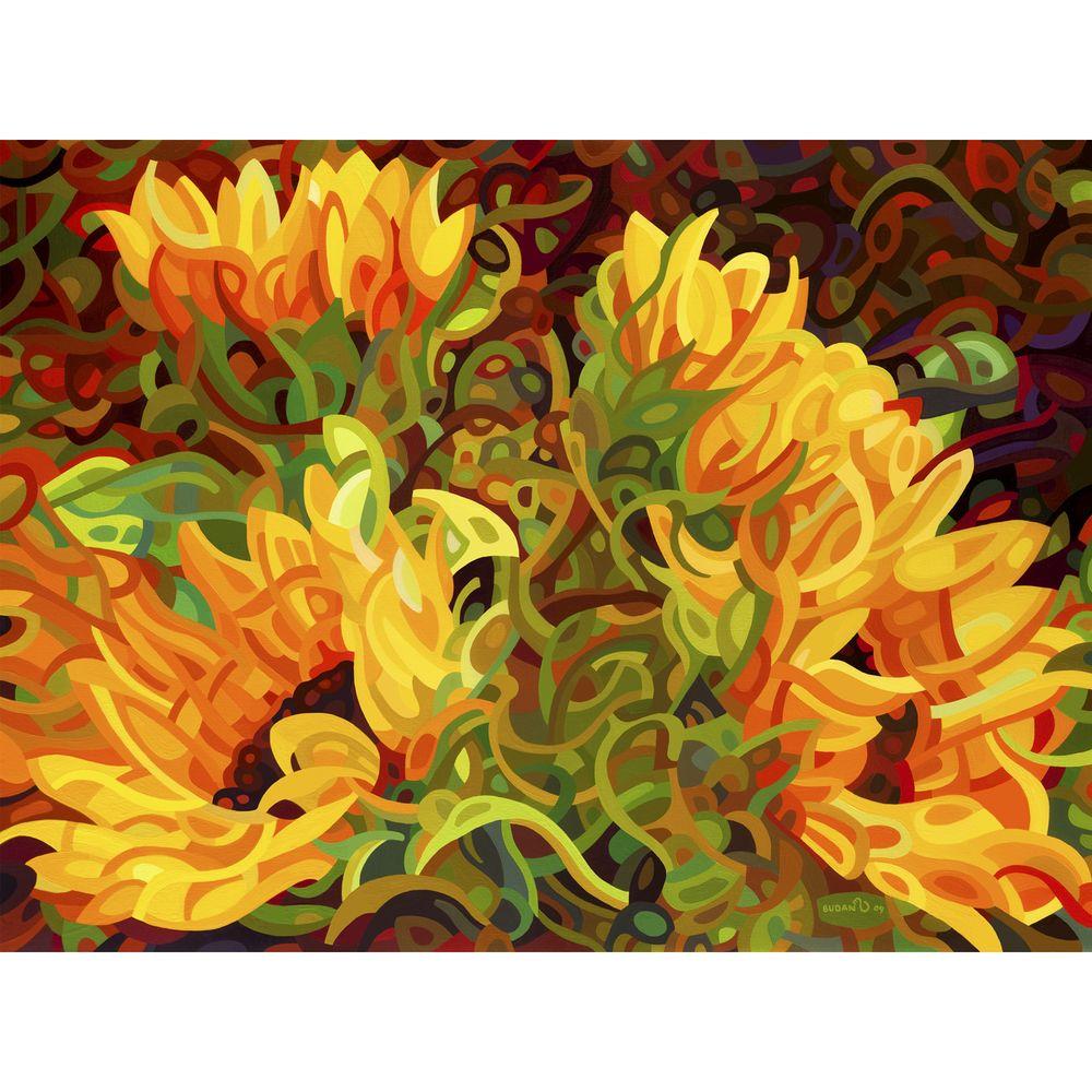 Mandy Budan \'Four Sunflowers\' Unframed Giclee Print Art - Overstock ...