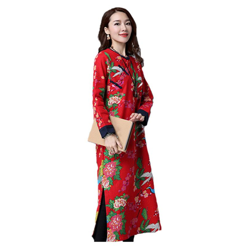 Winter Dresses Women Chinese Traditional Dress Long Sleeve Christmas New Year Plus Velvet Folk Custom