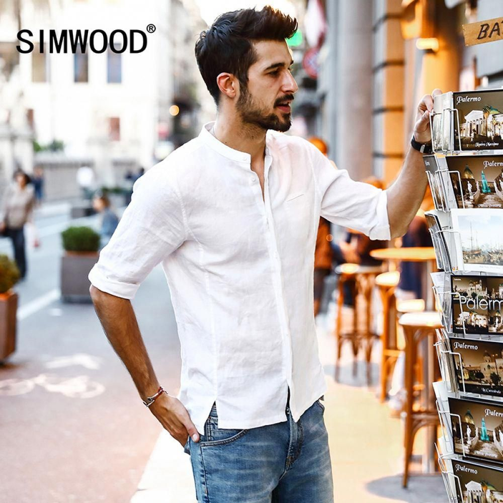 Simwood 2018 Summer New Casual Shirts Men Breathable 100 Pure Linen Fashiom Three Quar Mens Fashion Summer Casual Summer Shirts Mens Clothing Brands