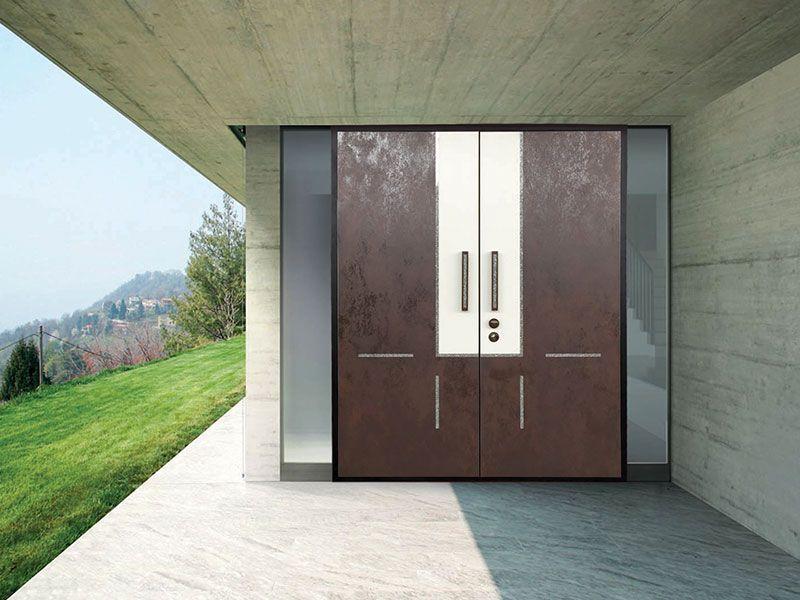 porte dentre design moderne contemporain sur mesure deux 2 vantaux avec panneaux - Porte D Entree Design