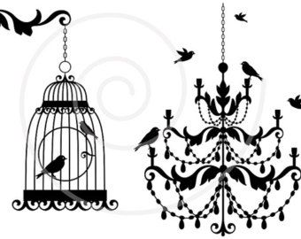 clipart decor chandelier clip decoration birds antique svg etsy bird digital cottage clipground birdcage textile laundry symbols icons care cage