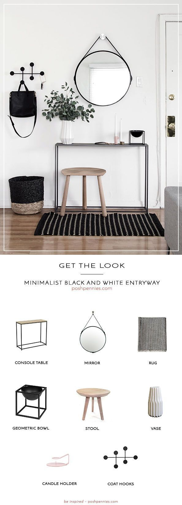 Photo of Get The Look: Minimalist Black And White Entry | Posh Pennies