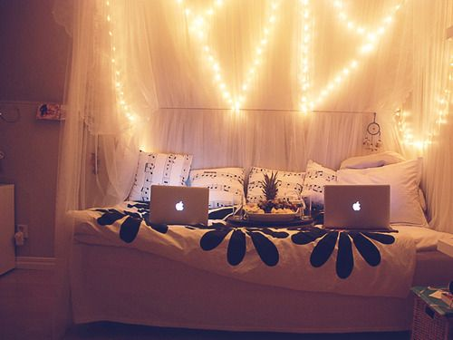 Love the peace sign lights in the back | Cozy bedroom ...