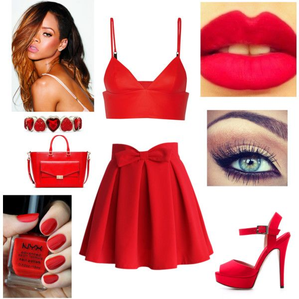 Red's by missnashty on Polyvore featuring beauté, NYX, Liz Claiborne, Tory Burch, T By Alexander Wang, Chicwish and Giambattista Valli
