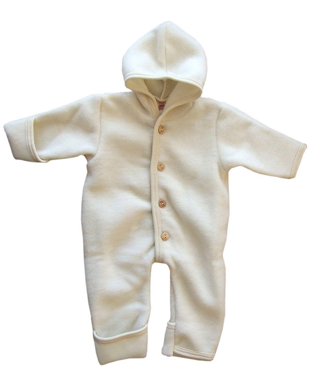 Merino Wool Organic Fleece Baby Newborn Romper Hooded Footed Engel