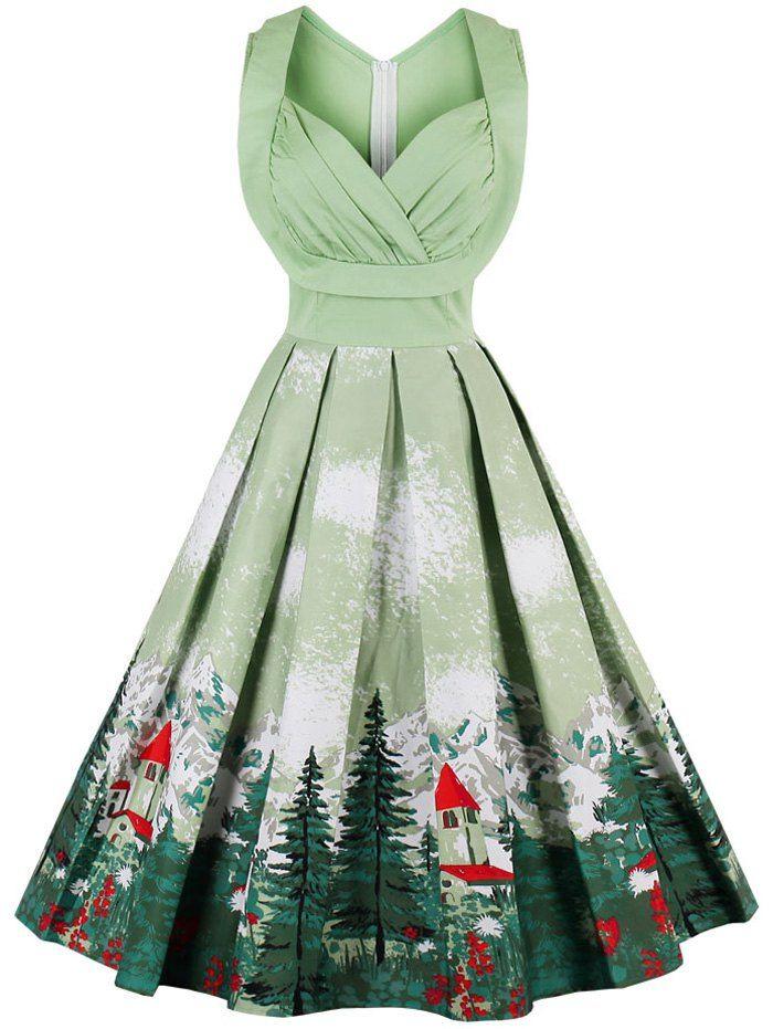 6bb881732d04f SHARE & Get it FREE | Midi Sleeveless High Waist Print DressFor ...