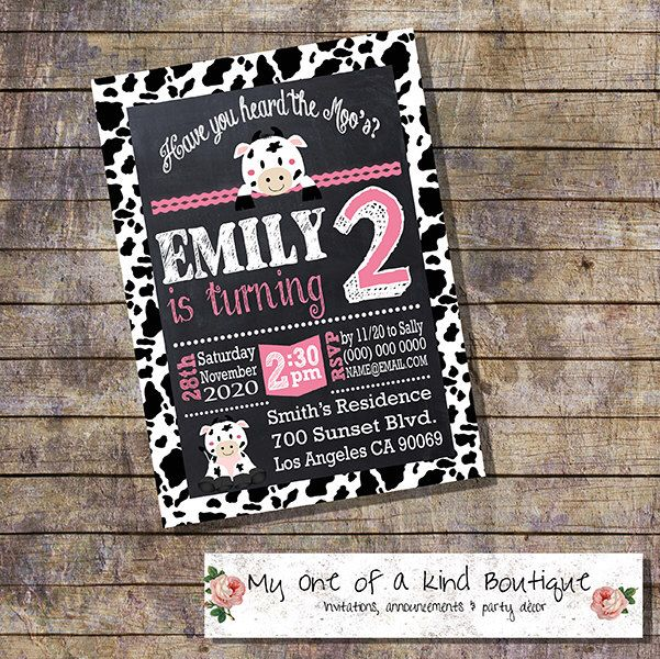 Birthday Party cow invitation chalkboard cow pink party moo cow
