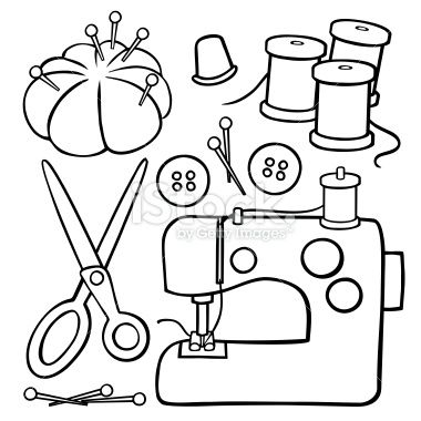 A variety of cartoon sewing design elements: a sewing