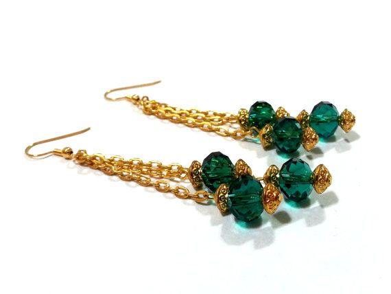 Green Crystal and Gold Chain Earrings Green by DCArtandPhotography