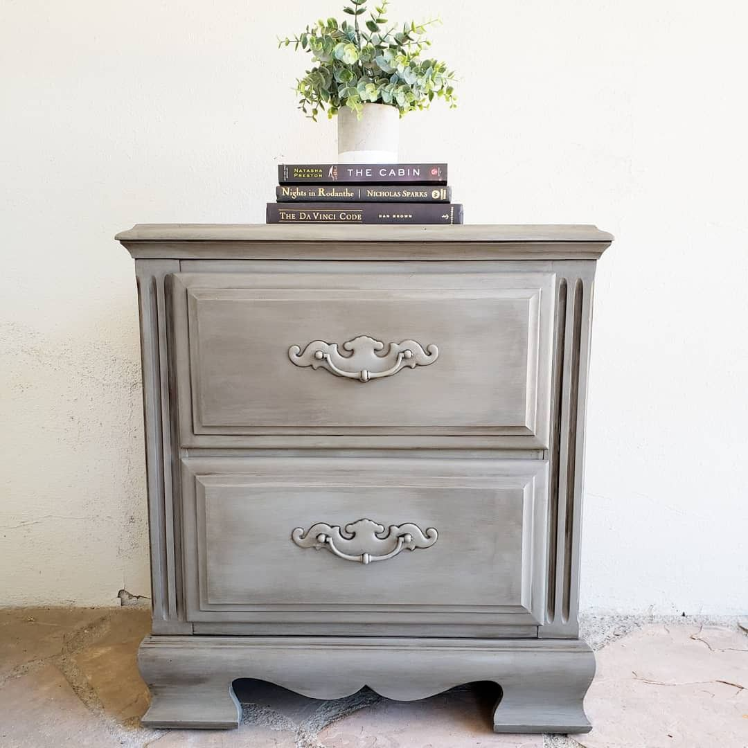 Painted In Rustoleum Country Gray With Dark Wax By Treasured Restorations Shabby Chic Bedroom Painted Furniture Diy Furniture