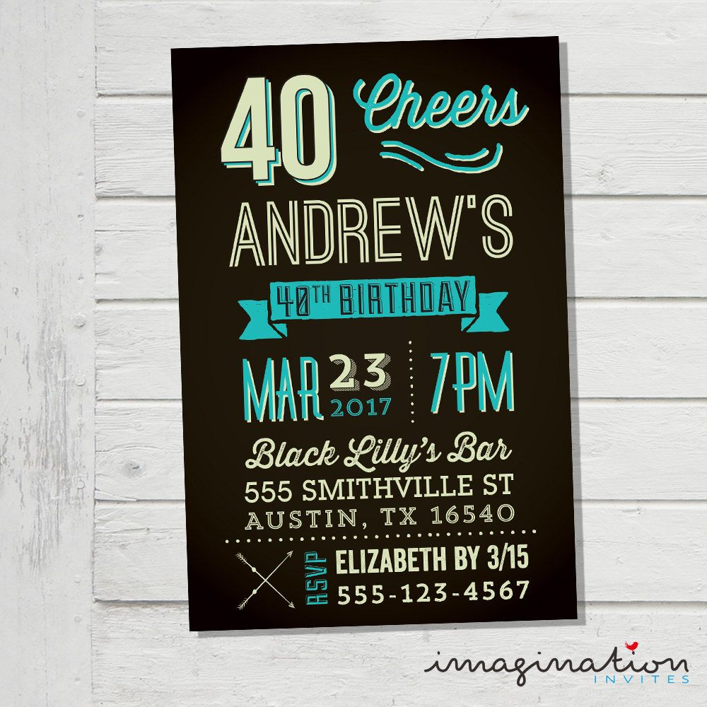 40th 50th 60th Invitation Men Male Birthday Party Hipster Invite Guy ...