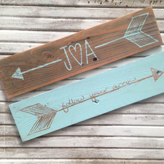 Personalized Arrow Sign On Reclaimed Wood By
