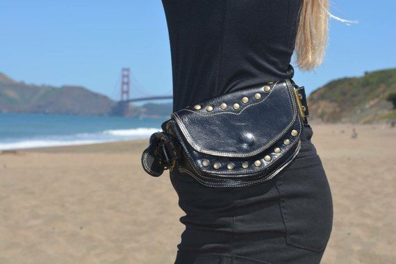 ec0ee90f5d5 Black leather sycamore pocket belt/ belt bag/ festival belt/burning man belt/  utility belt