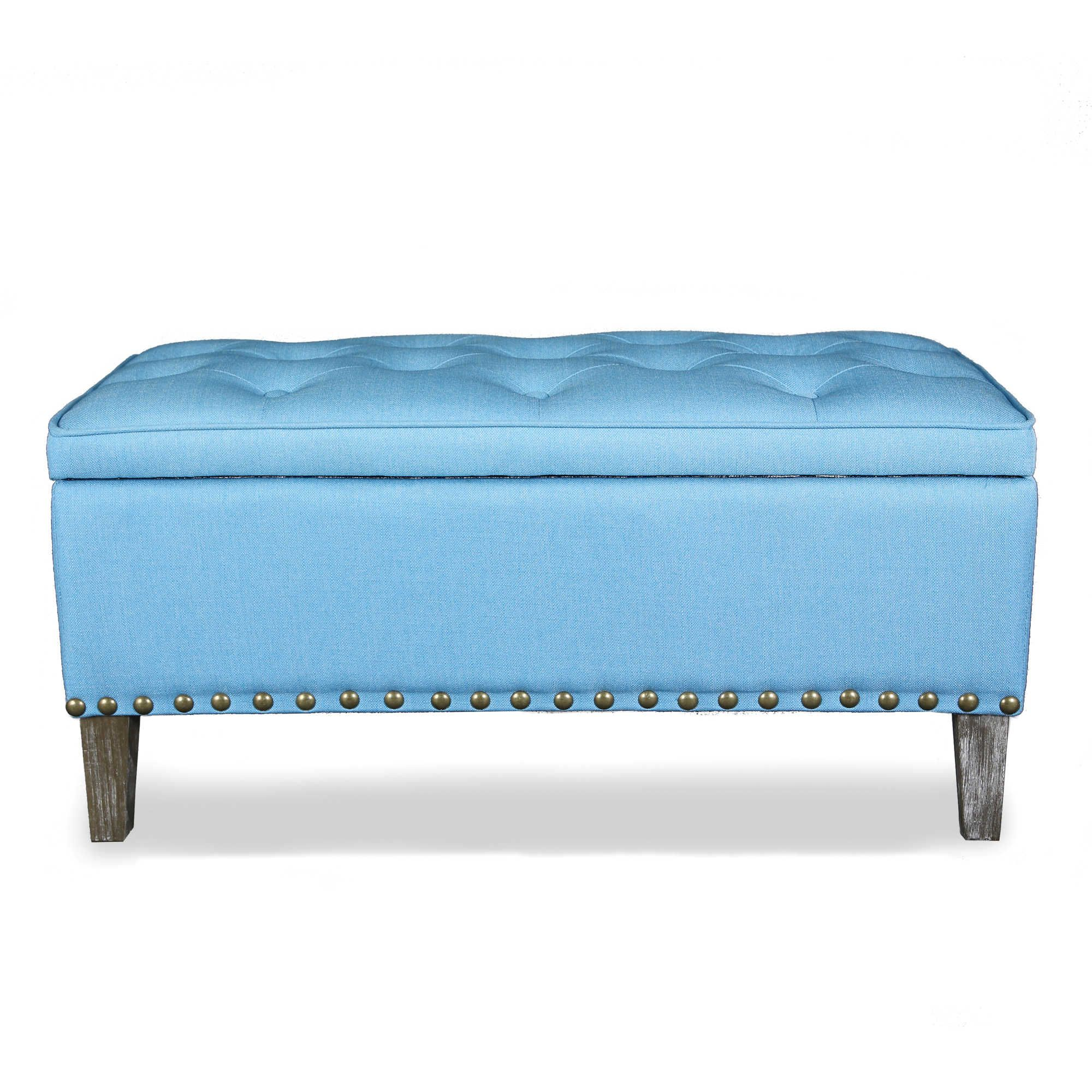 Legacy Home 36 Inch Button Tufted Ottoman Toy Chest In Blue