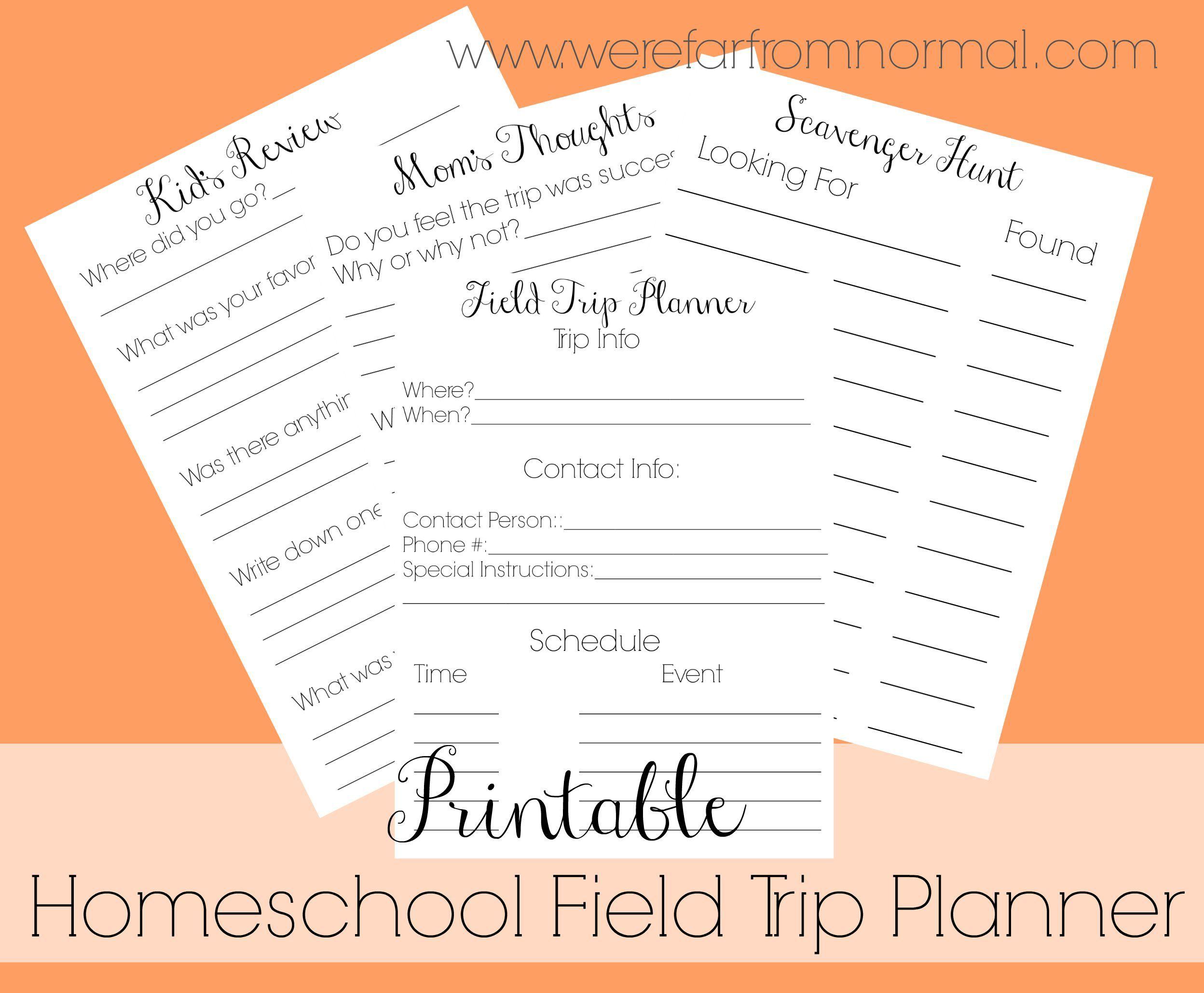Free Printable Homeschool Field Trip Planner