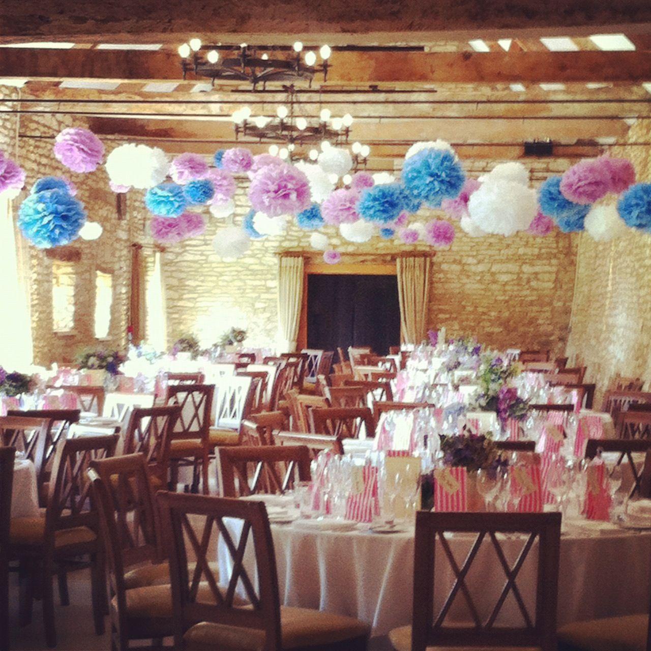 Wedding decoration ideas for hall  Pom Pom Wedding  pompomfactory  Must do one day  Pinterest