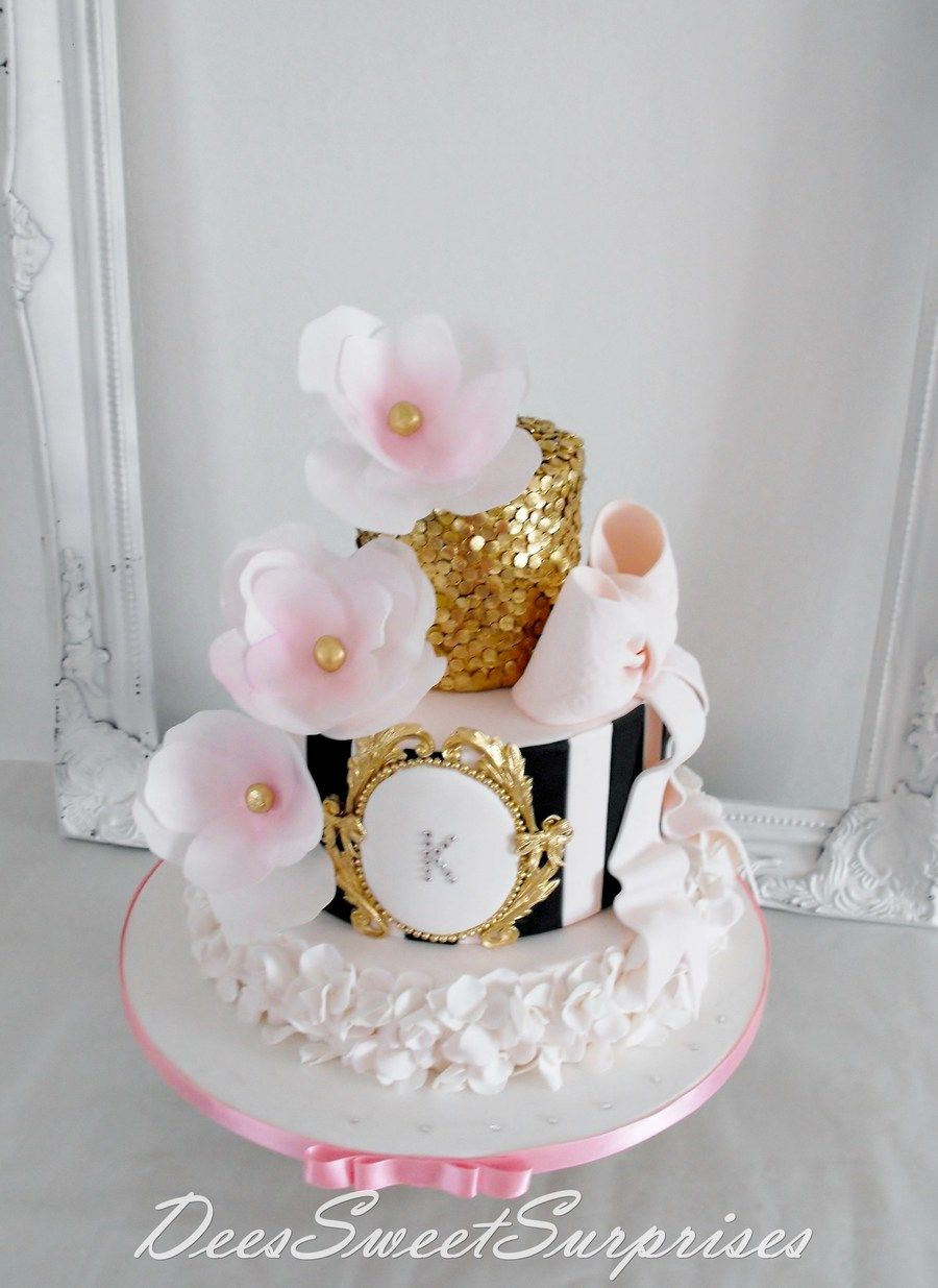 For My Beautiful Daughter  For My Beautiful Daughter Pink, black and gold tiered birthday cake for my daughters 15th birthday.  #black #gold #wedding #art-deco #masquerade #cakecentral