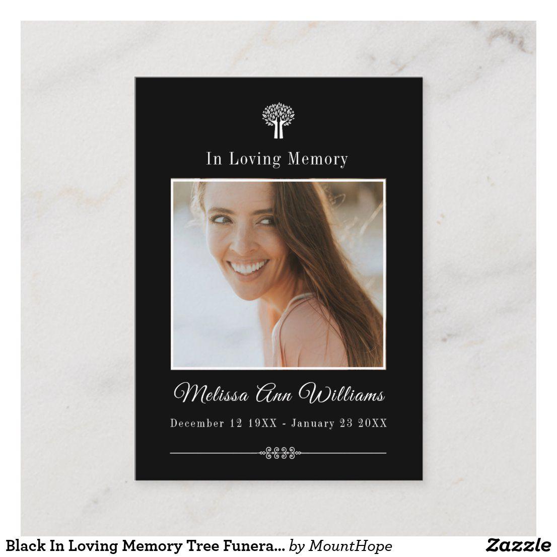 Black in loving memory tree funeral memorial card zazzle