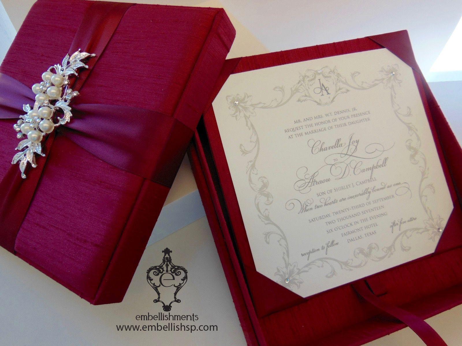 Romantic Crimson Red Silk Boxed invitations xo embellishments ...