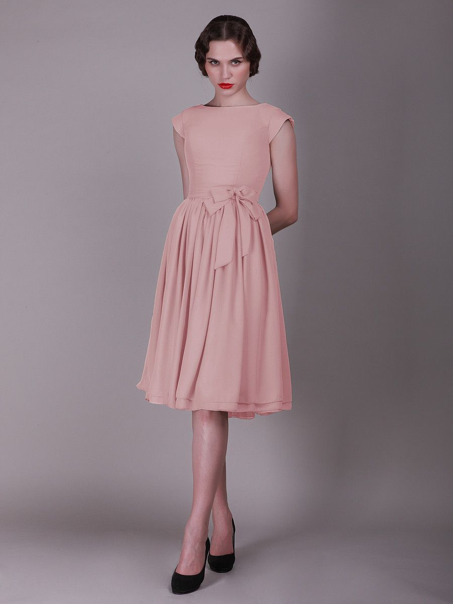 Cap Sleeved Vintage Bridesmaid Dress with Faux Buttons :) Gorgeous ...