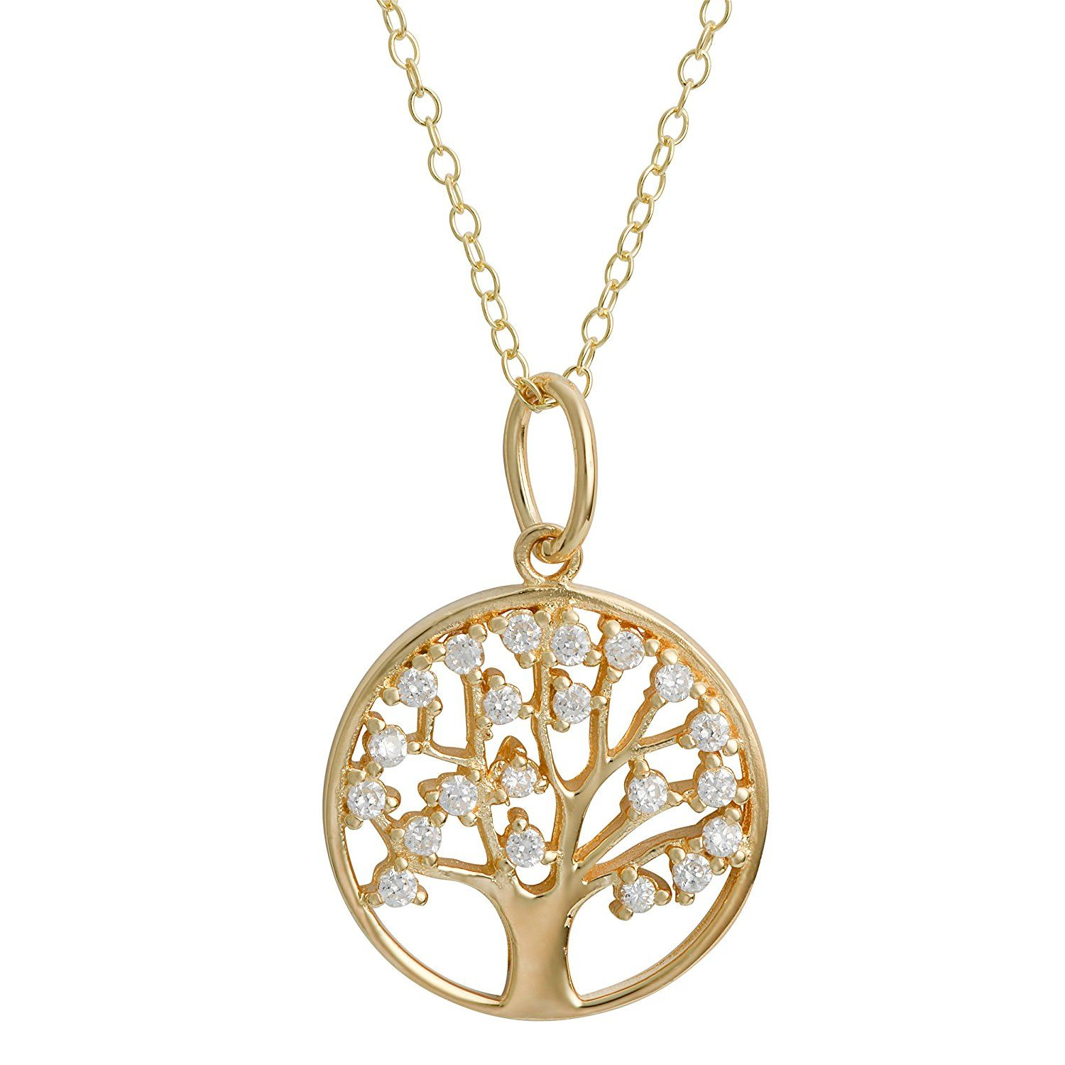 852bffa93f2a8 Yellow Gold Over Sterling Silver Cubic Zirconia Tree Of Life Pendant ...