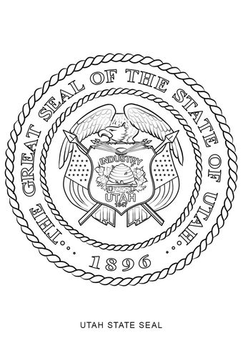 Click To See Printable Version Of Utah State Seal Coloring Page