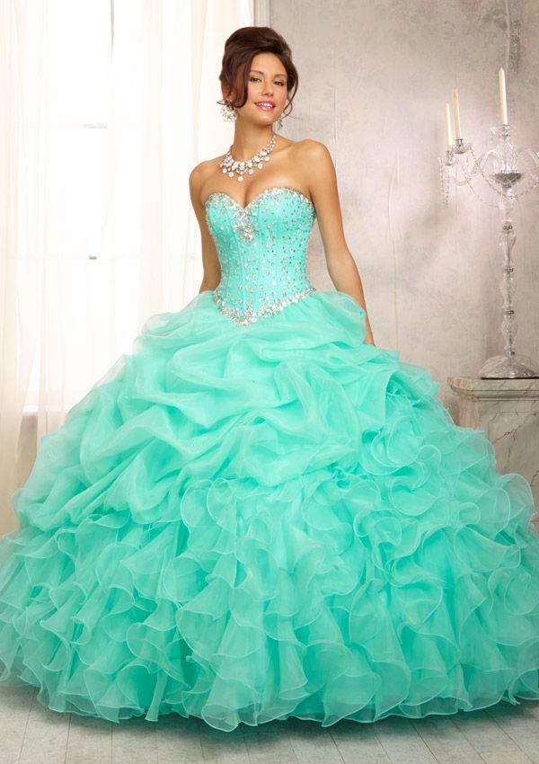 Fusha And Mint Green Weddings Dress Style 88083 Crystal Beaded Bodice On A Ruffled Organza
