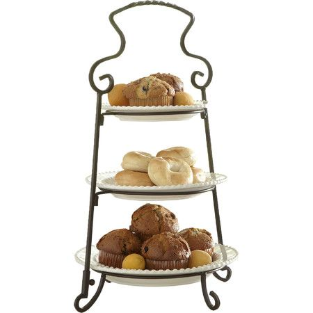 Display fresh-baked muffins or chocolate-covered strawberries stop the 3 tiers of this classic stand, a perfect buffet or brunch centerpiece.