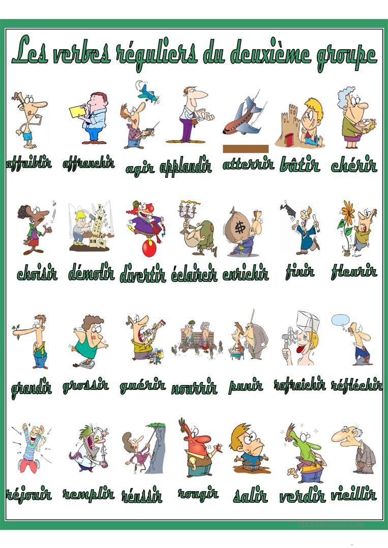 Les Verbes Reguliers Du Deuxieme Groupe Exercice Verbe Verbe Verbes Francais