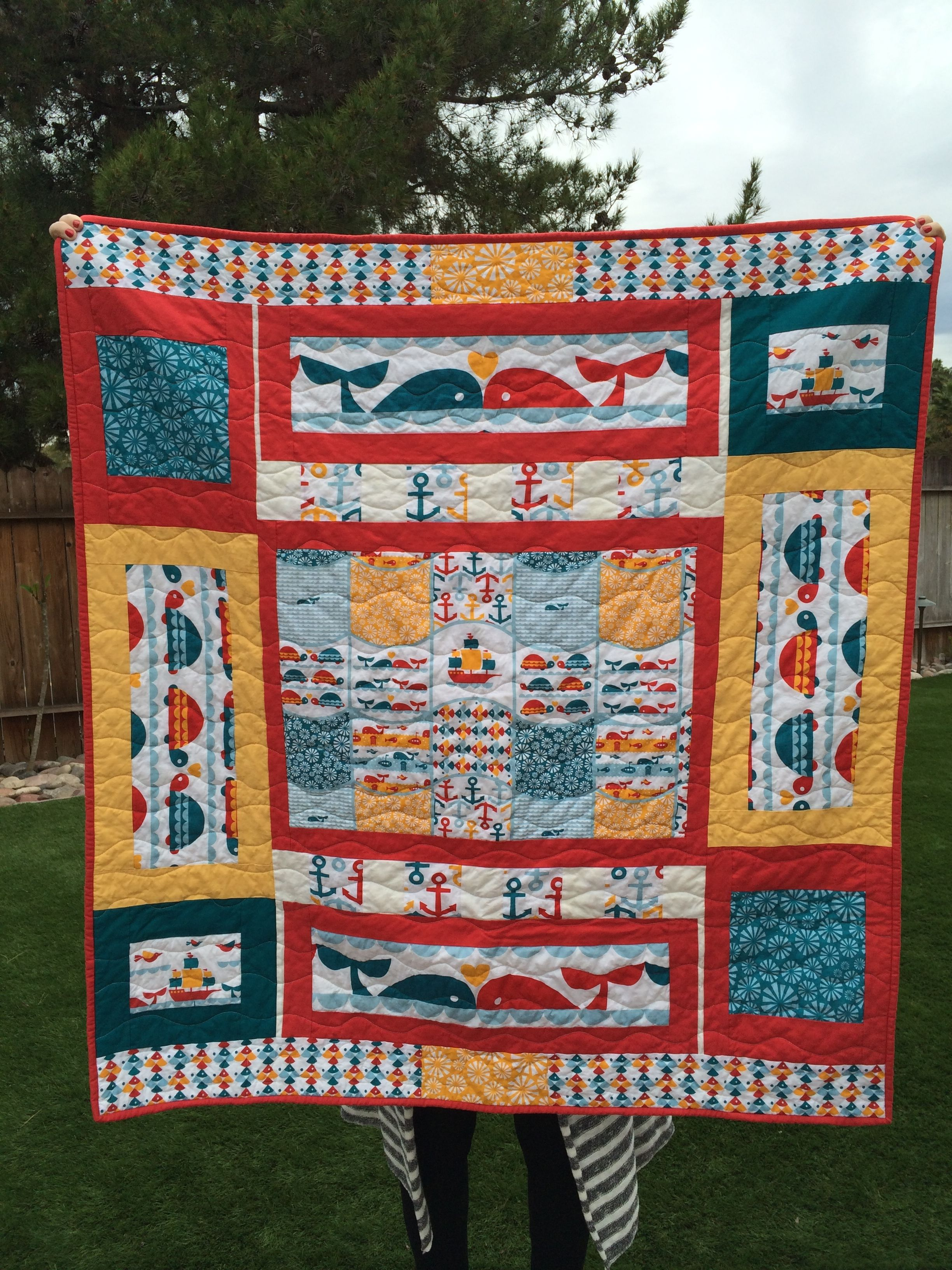 Commission Baby Quilt using Marine Too by Birch Fabrics