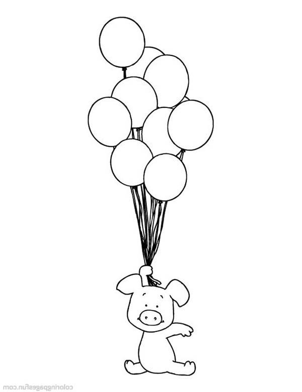 Piggly Wiggly Flying With Balloons Coloring Pages Bulk Color In 2020 Coloring Pages Animal Coloring Pages Fathers Day Coloring Page