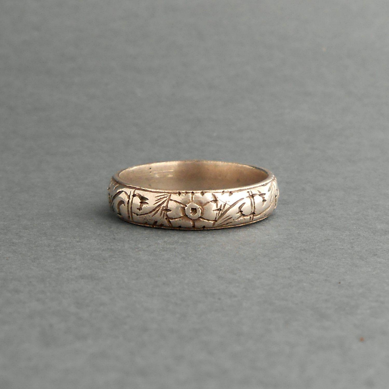 Bague de mariage antique Mens Argent 800 Fin géorgien