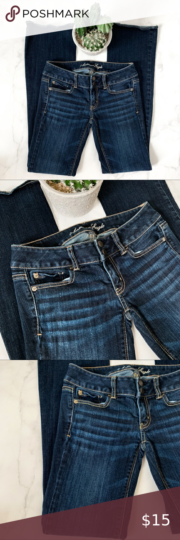 2 Long American Eagle Artist Low Rise Jeans in 2020