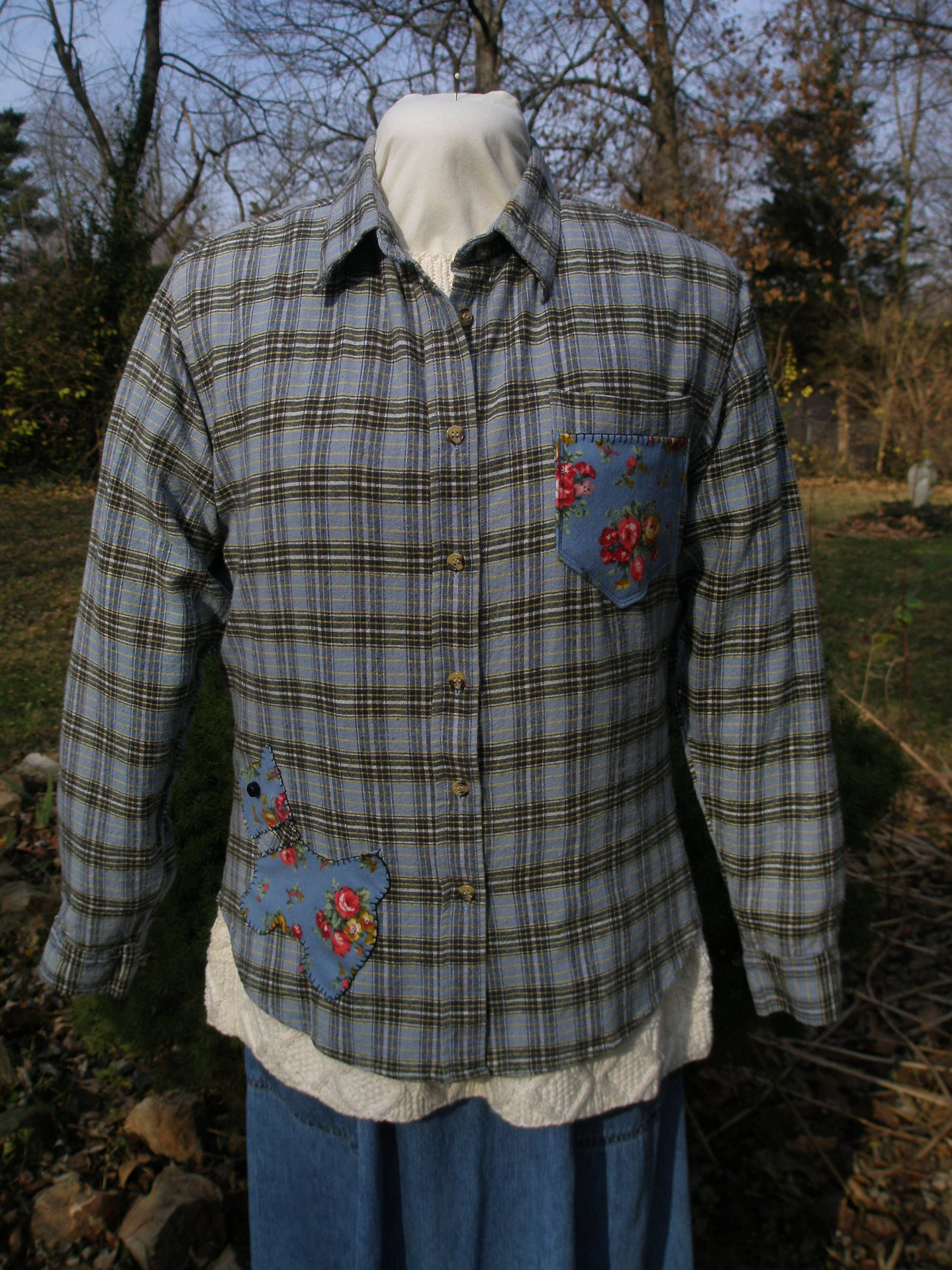 Flannel shirts for dogs  Plaid Flannel Shirt Upcycled Country Girl Flannel Scottie Dog