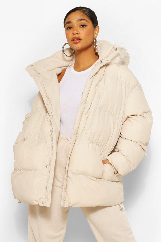 Plus Padded Puffer Coat With Faux Fur Hood Boohoo Women S Puffer Coats Puffer Coat Puffer Jacket Fur Hood [ 1500 x 1000 Pixel ]