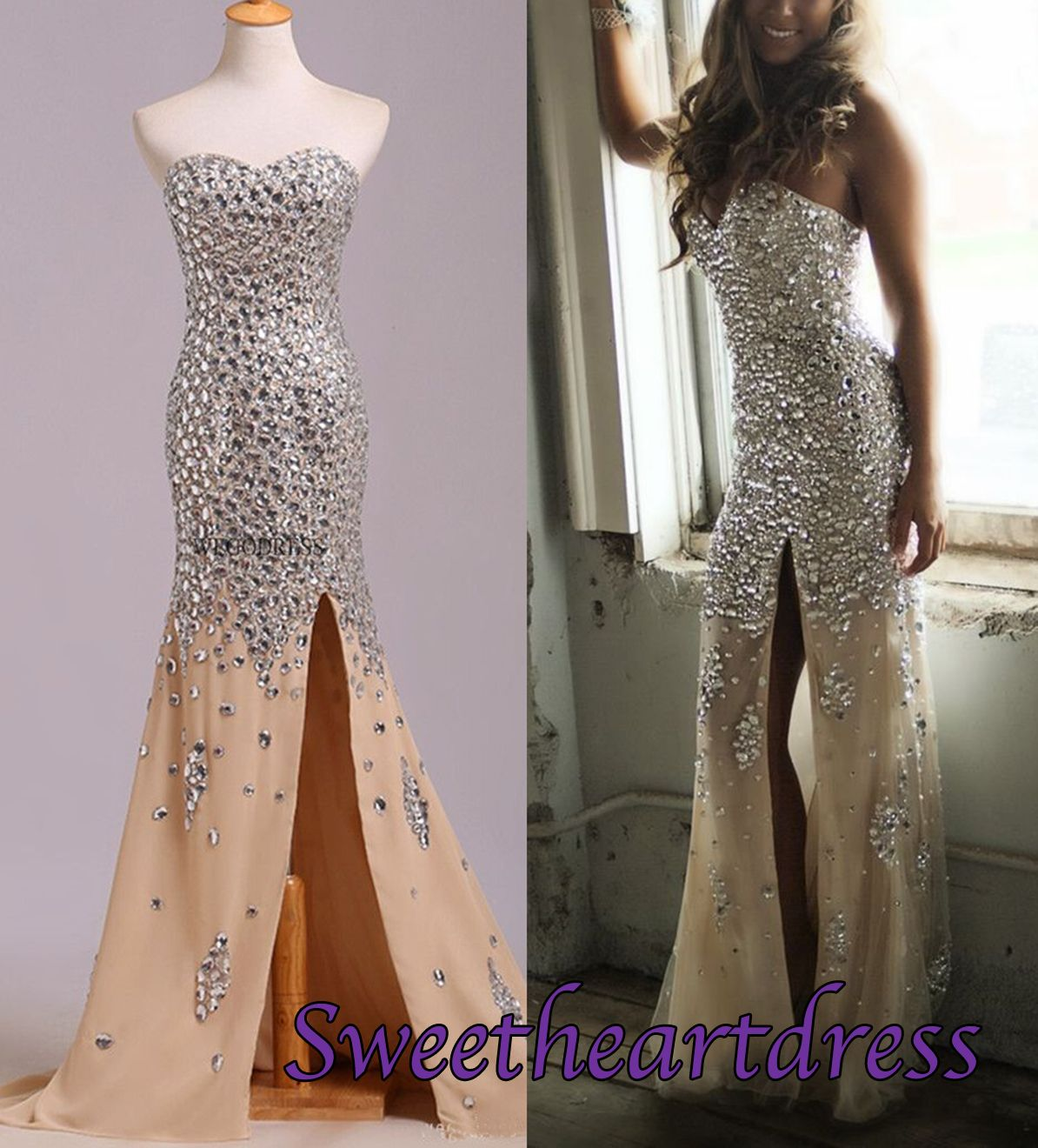Sparkly prom dress strapless beaded chiffon side lsit long