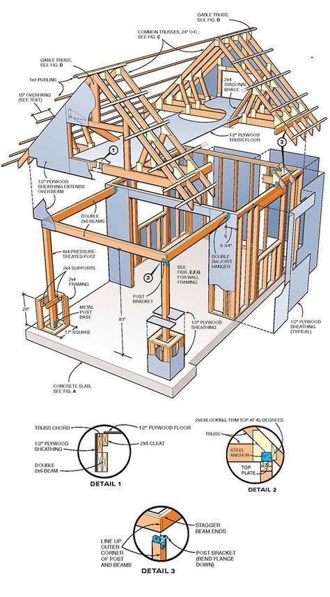 10x10 Two Storey Shed Plans 01 Framing Деревянные конструкции
