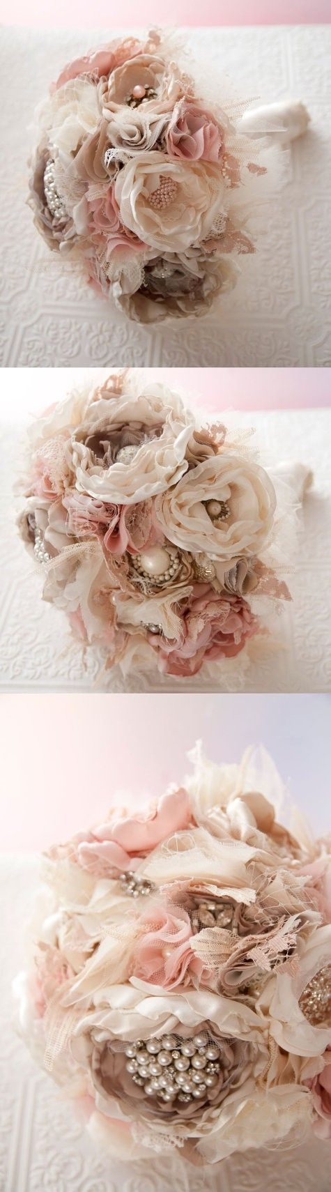 Love the lace flowers i want to learn how to make this eskvi fabric bouquet brooch bouquet fabric flower wedding bouquet with rhinestone and pearl brooches silk blush flowers izmirmasajfo