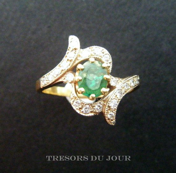 EDWARDIAN EMERALD Ring with Diamonds Antique Emerald ring in 18kt gold c. 1910 by TresorsDuJour