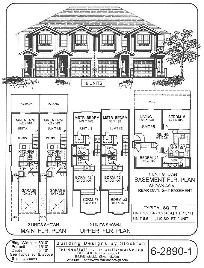 4 plex skinny units apartment house plan ideas for Fourplex plans with garage