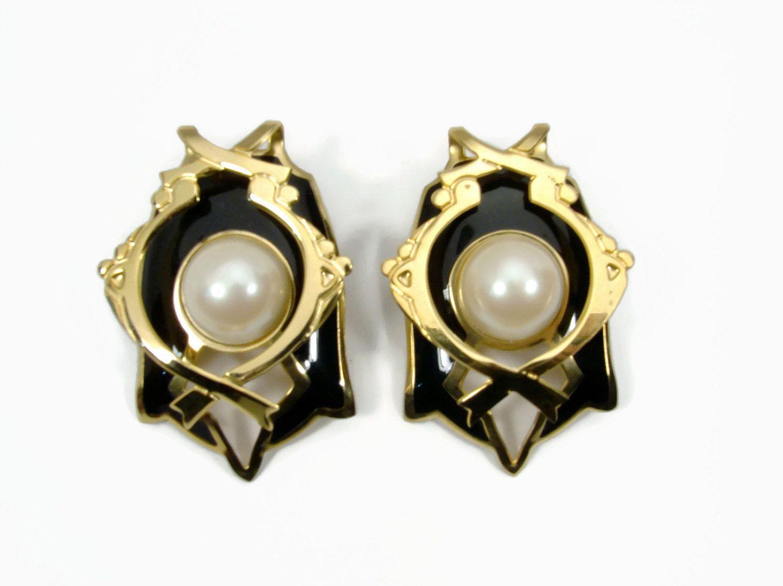 Edgar Berebi Earrings Pierced Ears 1980s Haute Couture Art Deco Faux Pearl Vintage Jewelry Black By Vintagegemz On Etsy