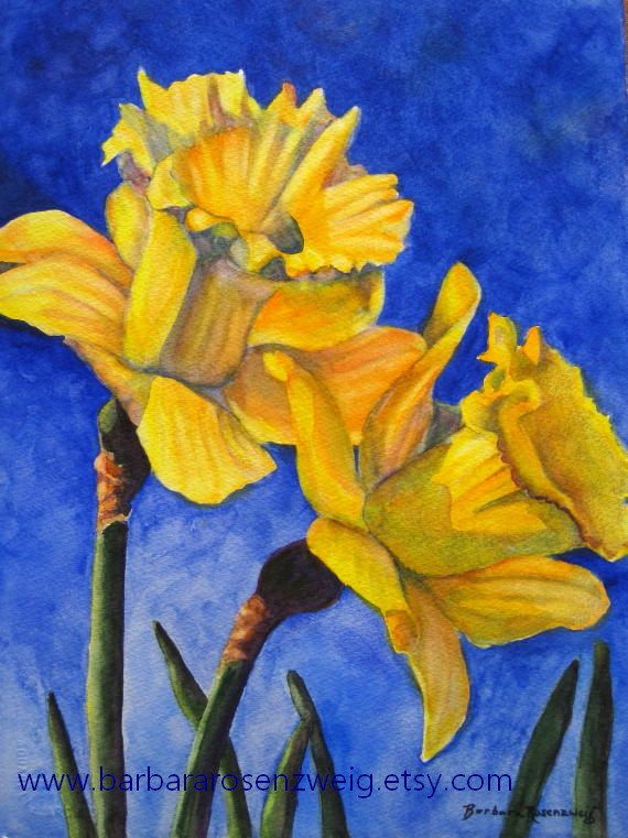 Flower Painting, Daffodil Painting Flower Wall Art Flower Watercolor ...